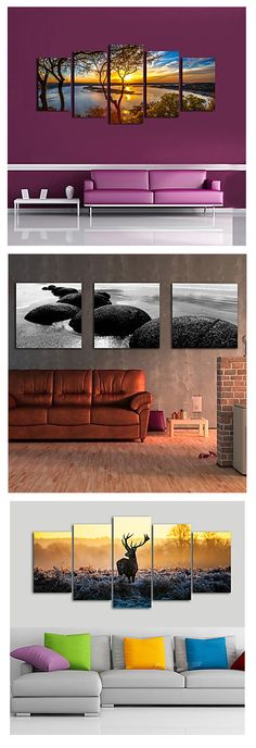Breathtaking landscape views in your living room... Add these three piece landscape canvas prints to your art collection.
