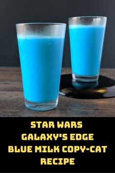 Delicious and Refreshing Blue Milk Copy-Cat Recipe from Star Wars Galaxys Edge now open at Disneyland Park and soon to arrive at Walt Disney World! This recipe is also DAIRY FREE - Milk - Ideas of Milk Star Wars Themed Food, Star Wars Food, Star Wars Party, Disney Drinks, Fun Drinks, Beverages, Refreshing Drinks, Blue Milk Recipe, Walt Disney World