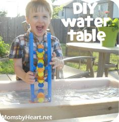 This looks fun! DIY Water table or sand table Sand And Water Table, Sand Table, Water Tables, Summer Fun For Kids, Diy For Kids, Kids Fun, Money Saving Mom, Craft Activities, Preschool Ideas