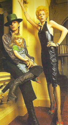 ~1974 David, Angela  Zowie Bowie ~*70s fashion icons dress hat platforms style print ad photo