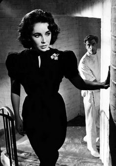 "Black dress 60s beautiful leaf pin looks like Van cleef and arpels brooch. Print ad, Elizabeth Taylor in ""Suddenly Last Summer"""