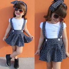 Baby Girl Clothes Set Short Sleeve White T-shirt and Overalls Bandage Skirt Headband