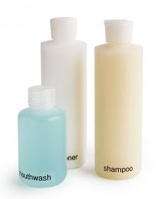 Buy economy-size staples, transfer some of the contents into smaller squeeze bottles, and label them for identification. Not only do the bottles fit into the medicine cabinet or shower caddy, they're easier to lift than an extra-large bottle of mouthwash or shampoo.
