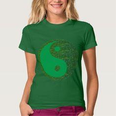 Shop navinJOSHI Green Balance YIN YANG Chinese T-Shirt created by ArtisticSelections. Yin Yang Chinese, Chinese Birthday, Tshirt Knot, T Shirts, Tees, Green Environment, Green Gifts, Celtic Knot, Mom And Dad