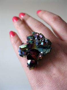 Titanium Quartz Cluster Cocktail Ring II from LarkinandLarkin