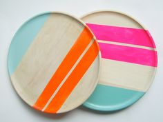 "Modern Neon Hardwood 10"" Dinner Plate, Electric Orange by Nicole Porter Design #neon #nicoleporter #wood"