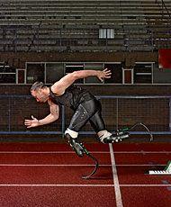 "Oscar Pistorius ""Fastest man on no legs""- ""I do not run like a man running aimlessly."""