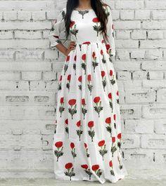 White & Red Cotton Printed Maxi