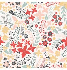 Flower seamless pattern with cute elements vector 3785054 - by DaryaGribovskay on VectorStock®