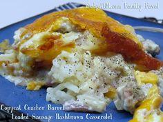 Budget101.com - - Copycat Cracker Barrel Loaded Sausage Hash Brown Breakfast Casserole