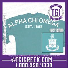 TGI Greek - Alpha Chi Omega - Spirit Jersey - Crest - Greek Apparel  #tgigreek #alphachiomega #spiritjersey
