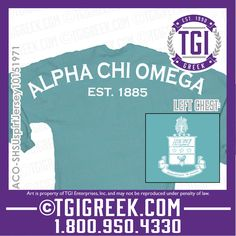TGI Greek - Alpha Chi Omega - Spirit Jersey - Crest - Greek Apparel  #tgigreek #alphachiomega #spiritjersey