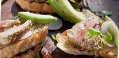 Wasabi and sesame crusted tuna bruschetta