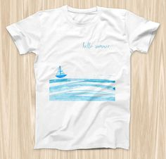 The Hello Summer Sailboat  ink-Fuzed Graphic by TheSkinDudes