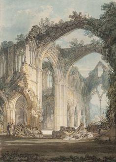 Джозеф Мэллорд Уильям Тёрнер. Аббатство Тинтерн: переход и алтарь, вид в направлении восточного окна. 1794
