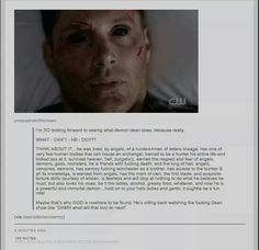 Demon dean... If only I could have this person's positive outlook on life. Lol