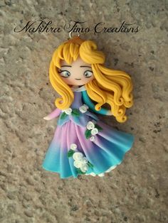 Aurora pink and blue dress polymer clay