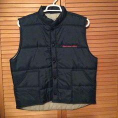 Vintage Puffer Vest Montgomery Ward Advertising Nylon Navy Blue Hipster Look    eBay