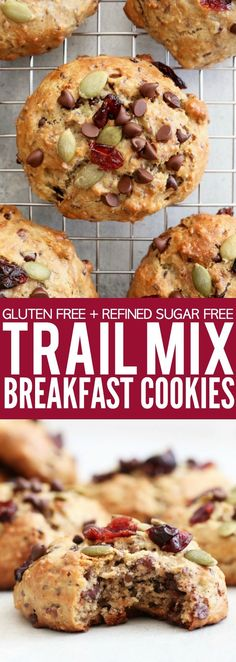 I can't wait for you to try these gluten free + refined sugar free Trail Mix Breakfast Cookies!! They're so hearty and perfect to grab for an easy morning meal! thetoastedpinenut.com #glutenfree #refinedsugarfree #sugarfree #paleo #breakfast #cookies