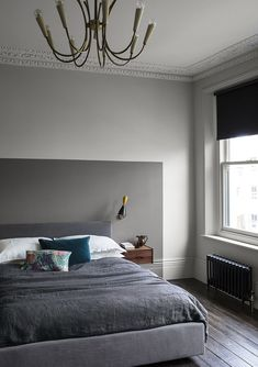 Bedroom with neutral Slate wall paint and warm grey colour block painted headboard in Sharkskin Grey Bedroom Paint, Bedroom Door Design, Bedroom Wall Designs, Bedroom Wall Colors, Home Bedroom, Library Bedroom, Library Wall, Grey Paint, Paint And Paper Library