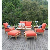 Teak Outdoor Patio Seating Set - 7 pcs. Red - Sam's Club