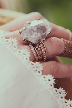 quartz ring boho jewelry