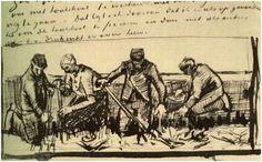 Vincent van Gogh Potato Grubbers, Four Figures Letter Sketches