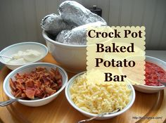 How to make simple, perfect baked potatoes every time... try the crock pot.  A simple meal ideas is to use the baked potatoes in a Baked Potato Bar.
