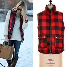 Red Checker Puffer Vest❗️PM EDITOR PICK❗️ Puffer vest features red checker pattern and front pockets with gold button detail. Lowest prices are listed upfront. Small bust measures 37 inches, length 25 inches. Meodum bust measures 39 inches, length 25 inches. Large bust measures 42 inches and length 25.5 inches.  Material is 100% poly. Jackets & Coats Puffers