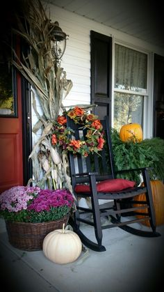 Fall colors front porch