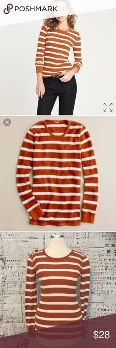 """J. Crew Vintage Thermal Tee Stripe Orange White XS J. Crew Vintage Thermal Tee In Stripe Orange White XS PRODUCT DETAILS * Cotton. * Stretches  * Machine wash.  Measures 15"""" across bust Length measures 23"""" Length from under arm to hem: 16""""    /344/ J. Crew Tops Tees - Long Sleeve"""