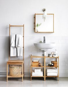 .Love that towel rack/ Chair to put clothes and underneath shelf to store basket.