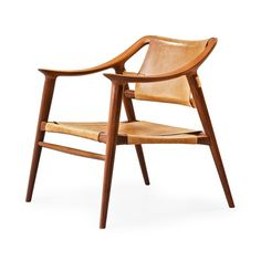 a teak and leather 'Bambi' armchair, Gustav Bahus, Norway 1950's-60's by Adolf Relling and Rolf Rastad