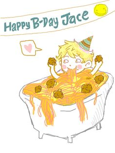 Jace Wayland's spaghetti bath. ha! Just imagine a young cute little Jace squirming in a bathtub full of spaghetti!