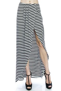 Super cute Black and white striped Maxi skirt with a side slit and pleated front detail.  Striped Maxi Skirt by Patty's Closet. Clothing - Skirts - Maxi Las Vegas