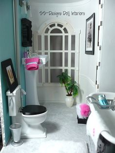 Barbie Dollhouse bathroom full view by SS-Designs Doll Interiors, via Flickr 1:6th Scale