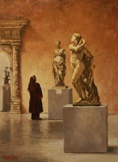 Admiring the Grand Sculptures  by Pauline Roche  Oil18 x 13