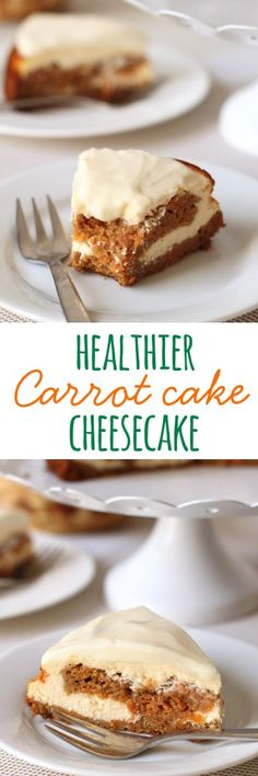 This healthier carrot cake cheesecake is 100% whole grain and made with less sugar!