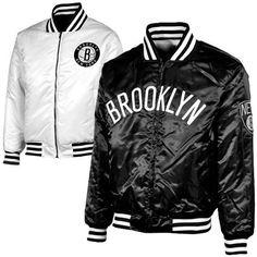 NBA Majestic Brooklyn Nets Reversible Satin Full Zip Jacket - Black  White Amazon  0d427c28f0a
