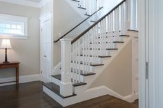 best gray paint colour for dark oak or dark wood flooring and stairs is benjamin moore edgecomb gray