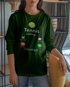 Tennis Is Calling And I Must Go T-Shirt shirts, apparel, posters are available at TeeChip. Tennis Games, Tennis Tips, Serena Williams, Tennis Photography, Tennis Funny, Tennis World, Tennis Workout, Tennis Quotes, Tennis Shirts