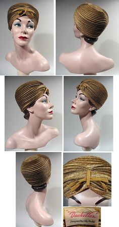 1960s Golden Olive Straw Beehive Turban by Lilly Dache