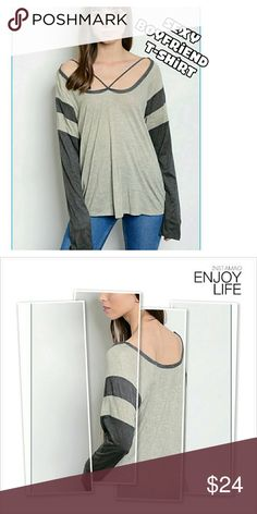 Taupe and Grey Sexy Boyfriend t-shirt Taupe and Grey Sexy Boyfriend t-shirt.  Crossfront strap. Long sleeves. NWT. BOUTIQUE. ( #H98 ) Tops Tees - Long Sleeve