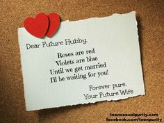 Love Note to your Future Hubby!  teen sexual purity true love waits Christian dating blog teensexualpurity.com facebook.com/teenpurity