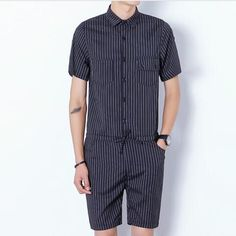 2017 Harajuku Gothic Rompers For Men Mens Striped Jumpsuit Harem Cargo Overalls Summer Hip-Hop Casual Bibs Pants 031507