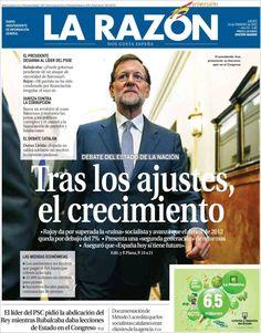 Los Titulares y Portadas de Noticias Destacadas Españolas del 21 de Febrero de 2013 del Diario La Razón ¿Que le parecio esta Portada de este Diario Español?