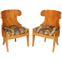 Pair of Biedermeier Burl Elm Chairs   From a unique collection of antique and modern side chairs at https://www.1stdibs.com/furniture/seating/side-chairs/
