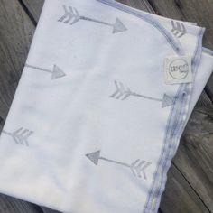 Organic Baby Blanket, Hand Stamped Baby Blanket, Unisex, Swaddle Blanket, Arrow Blanket on Etsy, $39.50