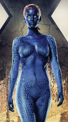 Body Art Jennifer Lawrence Mystique In X-Men Days of Future Past Films Marvel, Marvel Dc Comics, Marvel Heroes, Marvel Women, Jennifer Lawrence Mystique, Jenifer Lawrence, Jennifer Lawrence Hot Body, Xmen, James Mcavoy