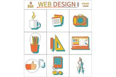 Set Thin Line Icons of Web Design by robuart on Creative Market